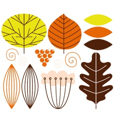 Beautiful colorful autumn leaves set vector