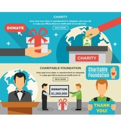 Charity And Donations Banners Set vector image