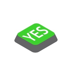 Click yes button icon isometric 3d style vector