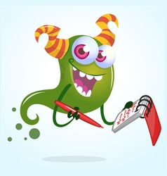 Cute cartoon green horned ghost with pen an vector image vector image