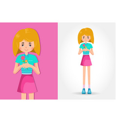 cute little girl holding a flower vector image vector image