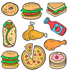 Doodle of various fast food vector