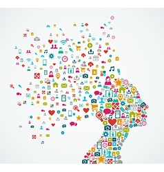 Female human head shape with social media icons vector