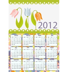 Flower calendar for 2012 vector image vector image