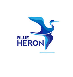 flying blue heron vector image