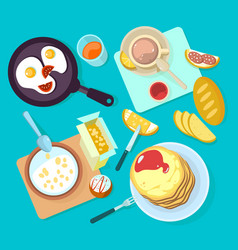 Fresh healthy breakfast food and drinks top view vector
