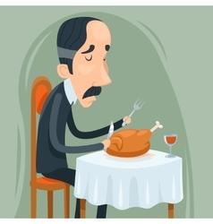 Gaunt aristocrat man eat roasted chicken with wine vector