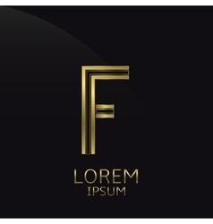 Golden f letter vector