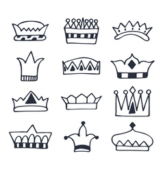 Hand drawn crowns set sketch crowns collection vector