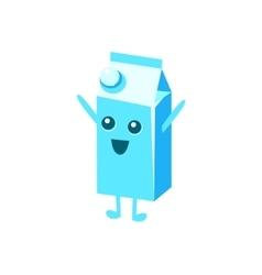 Happy big milk carton character vector