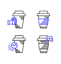 Line art icon coffee cup icon food outlin drink vector