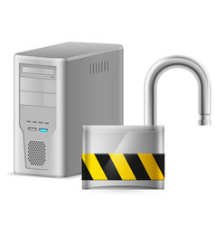 open padlock - computer security concept of vector image vector image