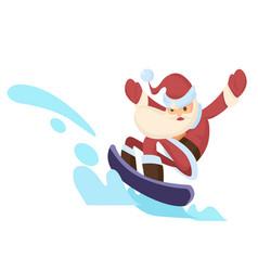santa claus riding snowboard vector image
