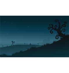 Scenery dry tree and zombie silhouette Halloween vector image vector image