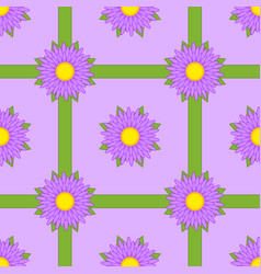 seamless pattern of purple flowers with ribbons vector image