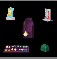 Set of stand showcase with various jewelry vector