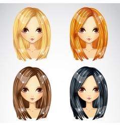 Set Of Straight Haircut vector image vector image