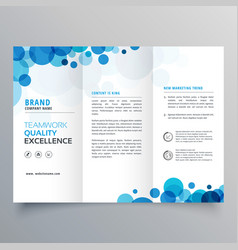 Stylish creative blue circles trifold brochure vector