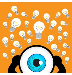 The blue eye thinking with many idea vector image