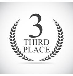 Third place laurel design label vector