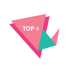 Top4 text in label pink and green vector