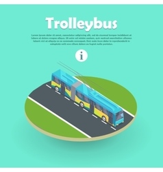Trolleybus on part of road web banner flat 3d vector
