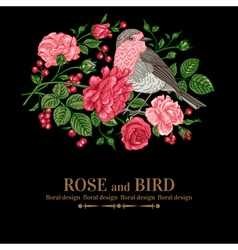 Vintage background with roses and bird vector image