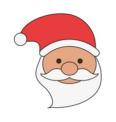white background with front face santa claus with vector image