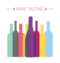 Wine tasting card with colored bottles vector image vector image