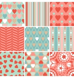 Set of 9 valentines day heart patterns vector