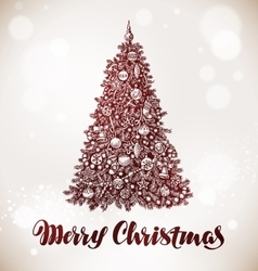 Merry christmas xmas tree with decorations vector