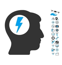 Brain electric shock icon with copter tools bonus vector