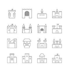 Historical ancient castle linear icons citadel vector