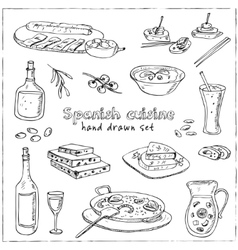Hand drawn set of spanish cuisine soup vector