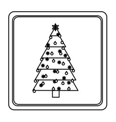 sketch silhouette square frame with christmas tree vector image
