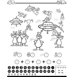 mathematical activity coloring page vector image