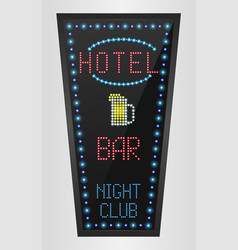 Retro sign with blue lights and the word hotel vector
