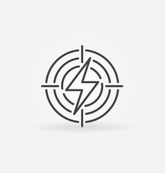 Lightning in target icon vector