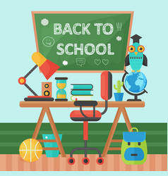 Back to school banner chalkboard and pupil table vector
