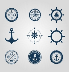 Set of nautical labels icons logo symbol vector