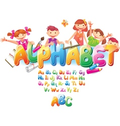 Alphabet with children vector