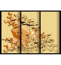 Abstract cubical banners vector