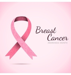 Ornate ribbon of breast cancer on abstract pink vector