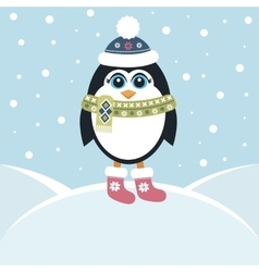 Cute penguin in winter vector