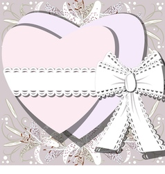 Two white hearts tied by ribbon with bow vector