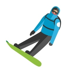 Snowboarder jumping pose on winter outdoor vector