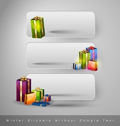 Winter stickers with gifts design elements without vector