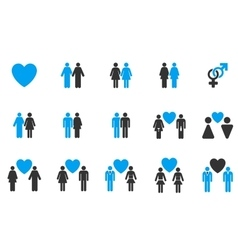 Love pairs flat icon set vector