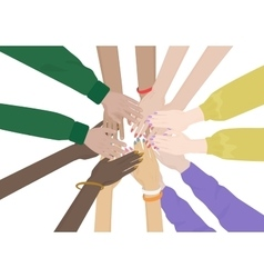 Group of diverse hands together isolated team of vector