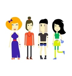 Flat of young womans in various vector image